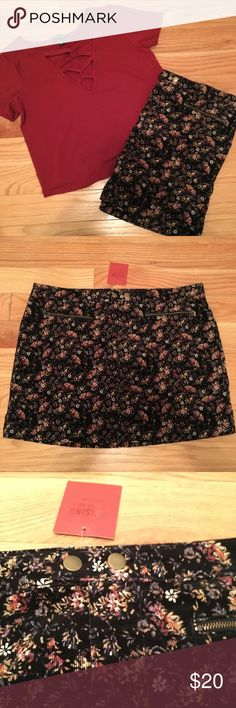 Plus Size Floral Mini Skirt This is a very cute plus size skirt I purchased from Target a while back. The skirt feels similar to corduroy and has a pretty floral design. It features to zippers on the front and a zipper and button closure. It is NWT and in great condition. It's been sitting in my closet for a while. This skirt is a size 18 but it was in the juniors section and I feel that it would best fit a 14/16. Mossimo Supply Co. Skirts Mini #bestskirtsforplussize