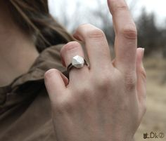 White Clay Stone Ring  PolyFusion Collection 2012 by LDk2 on Etsy, $12.50