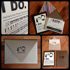 """I looked online at a lot of wedding invitation designs, and thought, """"they're nice, but not quite right for us."""" So I used real pictures and formed a silhouette of us for our wedding logo and incorporated it into everything printed for our wedding."""