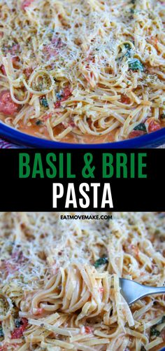 This delicious one-pot one-skillet meal and pasta recipe is made with fresh basil and creamy, melted brie cheese and linguine. It's beyond delicious! Brie Cheese Recipes, Veggie Recipes, Vegetarian Recipes, Cooking Recipes, Veggie Food, Burger Recipes, Cooking Tips, Pasta Dinner Recipes, Dinner Dishes