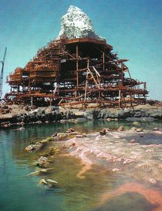 Construction of the Matterhorn as seen from the Submarine Lagoon.