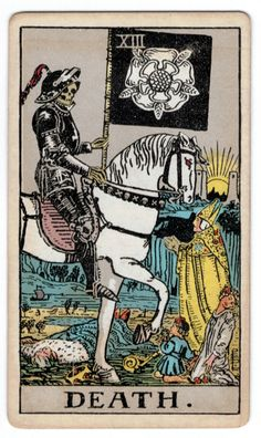Death (XIII) is the thirteenth trump or Major Arcana card in most traditional Tarot decks. It is used in Tarot, tarock and tarocchi games as well as in divination. Major Arcana Cards, Tarot Major Arcana, Xiii Tarot, One Card Tarot, Tarot Death, Tarot Rider Waite, Tarot Waite, Tarot Decks, Tarot Spreads