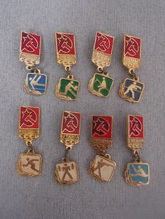 Soviet Vintage Badges / Russian Badge / Pins / Set of 8pcs. / Soviet Vintage / 1980s