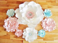 Set of 8 Flowers  Paper Flowers  Paper by DreamEventsinPaper $120