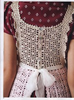 Crochet pinafore. Think I need to get me a copy of Vogue Knitting's Crochet 2013 edition.