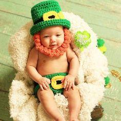 e4ce8f456b0 Crochet Baby St. Patrick s Day Leprechaun Hat Beanie Beard Diaper Cover Set  Infant Newborn Baby Toddler Photography Photo Prop Handmade Baby Shower  Gift ...