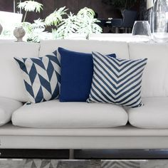 Couch Cushion Covers, Blue Pillow Covers, Blue Pillows, Toss Pillows, Custom Pillows, Decorative Pillows, Blue And White Fabric, Pillow Inspiration, Interior Design Boards