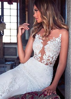 Buy discount Amazing Tulle Jewel Neckline See-through Bodice Mermaid Wedding Dress With Lace Appliques at Dressilyme.com
