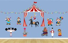 Circus Wall Decal Kit - Reusable Vinyl Fabric - Repositionable Decal - Nursery Room Decals - Nursery Decor - Animals - Horse Decal