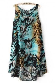 Multi Color Round Neck Sleeveless High Low Dress