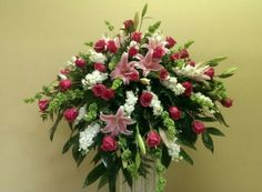 Pink and white tribute casket piece