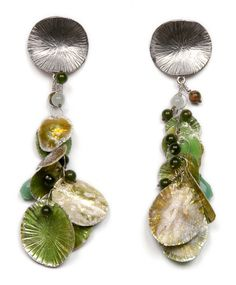 Amie  Louise  Plante | Jingle-Cluster Earrings (Green Enamel) | Materials: sterling, enamel, jade, aventurine | $700.00  http://www.amieplante.com/collections.html