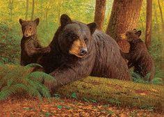 Bearly Keeping Up by Dallen Lambson adorable family xo Running Bear, Sloth Bear, Bear Decor, Bear Art, Wildlife Art, Funny Animal Pictures, Black Bear, Cool Art, Fun Art