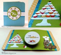 Sandy Diller shared this sweet card on her blog: http://sandydiller.blogspot.com/2016/08/designer-challenge-week-flower-or-flour.html. Sandy created the base of the card with Karen's Twist Circle Pop Up. For the front, she used extra pieces from the Twist Circle Pop Up, as well as a few cupcakes from Karen's Just A Note Clear Stamps. On the inside, she placed Baker the Beaver with a mountain of cupcakes! For a finishing touch, she added 'cup' to the Just A Note Clear Stamps.