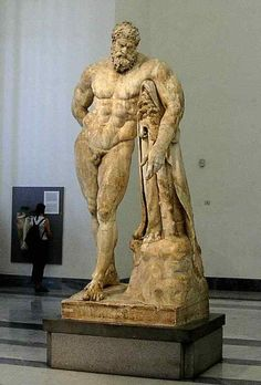Ancient Roman statue: Farnese Hercules, 3rd century, inspired by the Greek statue of Hercules.