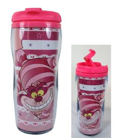 Pink Alice in Wonderland Cheshire Cat Travel Coffee Mug Thermos