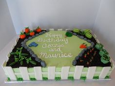 Garden Cake - A buttercream frosted cake with fondant/gumpaste accents for two brothers who are avid gardeners.
