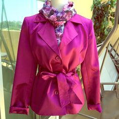 Stunning Express fuchsia/magenta coat. Silky type material. Absolutely stunning coat that is in excellent condition! I purchased this on PM but have not had an opportunity to wear it. I am downsizing everything so I am finding her a new home. Express Jackets & Coats
