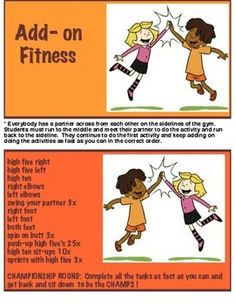 Physical Education - Add - on Fitness Physical Education Middle School, Physical Education Activities, Pe Activities, Pe Board, Warm Up Games, Elementary Pe, Pe Class, Pe Ideas, Kids Fitness