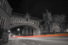 Christchurch Cathedral in Dublin, Ireland. A long exposure shot taken at night using a Sony A7r camera with a Carl Zeiss 16-35mm f/4 lens.  Dublin, Ireland, Irish, Europe, Christchurch Cathedral, Long Exposure, Night, Selective Colour, Photography, Sony A7r, Carl Zeiss, Wide Angle, 16-35mm, f/4,