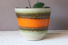 Scheurich Übertopf aus Keramik Vintage 60er 70er Jahre / West German Pottery flowerpot Orange Braun, Planter Pots, Vintage, Plants, Vintage Comics