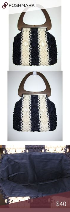"Groovy 70s Navy & White Macrame Purse Amazing vintage 1970s navy & white macrame purse Fully lined with wood handles Fully lined --- exterior is backed by blue and white striped fabric. Interior is solid blue. Bag body measures 14"" wide x 11"" tall Total length: 20"" Excellent vintage condition. Perfect for spring Great preppy nautical style Vintage Bags"