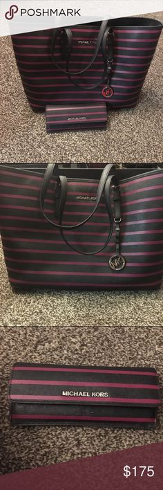 Matching Michael Kors Purse & Wallet EUC purse and wallet black w/ dark pink stripes!! Excellent condition...Not interested in separating at this time! Michael Kors Bags Totes