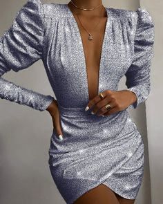 Gold plunge sequin long sleeve bodycon dress review