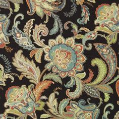 Captivating black floral large home fabric by Duralee. Item 42485-12. Huge savings on Duralee luxury fabric. Free shipping! Find thousands of designer patterns. Strictly 1st Quality. Width 54 inches. Sold by the yard.