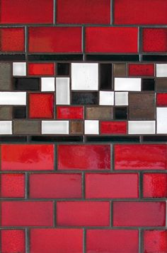 "Mercury Mosaics | 2""x4"" Subway Tile - 614 Matador Red / Stix - 613 Black / Savvy Squares - 106 Fuji Brown, 553 Bronze, 613 Black, 614 Matador Red"