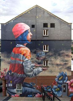 Artist Fintan Magee new wonderful Street Art mural in Glabsgow, Scotland 3d Art, Public Art, Figure Painting, Painting, Illustration Art, Art, Graffiti Art, Street Art, Building Art