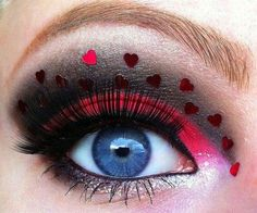 Hearts for Valentine's Day eye makeup.
