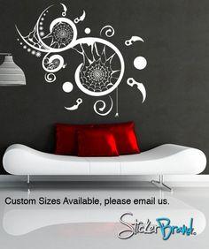 Vinyl Wall Decal Sticker Spiral Web #GFoster115 | Stickerbrand wall art decals, wall graphics and wall murals.