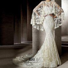 Wedding, Wedding dress / cheongsam / dress, Women's Clothing, Pronovias same paragraph Spain Erika real shot full lace waist fishtail wedding dress to wear two small tail shawl