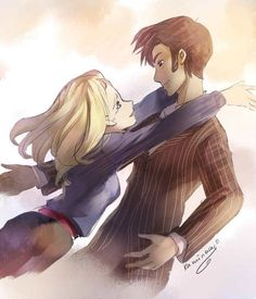 Doc/Rose - doctor-who Fan Art anime style Rose And The Doctor, Doctor Who Fan Art, 10th Doctor, Evil Doctor, Don't Blink, Rose Tyler, Geronimo, Bad Wolf, David Tennant