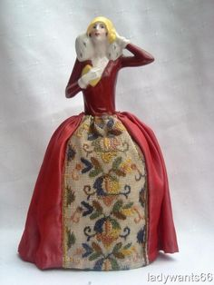 LARGE ART DECO GERMAN PORCELAIN FLAPPER LADY HALF DOLL ON PIN CUSHION BASE