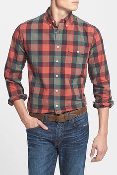 Grayers   Trim Fit Plaid Slubbed Poplin Shirt   Nordstrom Rack