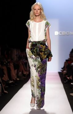 #BCBG MAX AZRIA Spring 2014. Richard Drew | AP. #nyfw #fashion #style .... its like moss and flowers growing up a fence .. loose and relaxed