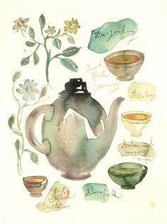 Tea watercolor painting - Darjeeling tea - Art for kitchen - Original watercolor painting Art And Illustration, Food Illustrations, Watercolor Food, Watercolor Paintings, Watercolor Bookmarks, Watercolours, Painting Art, Darjeeling Tea, Tea Art