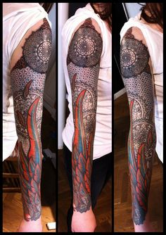 Flower of life and feathers by Meatshop-Tattoo.