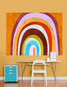 Bright world map wall mural room setting basement pinterest rainbow arch wall mural gumiabroncs Choice Image