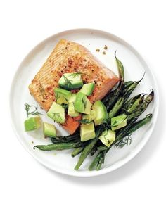 Salmon, Green Beans, and Avocado recipe from realsimple.com #myplate #protein #vegetables