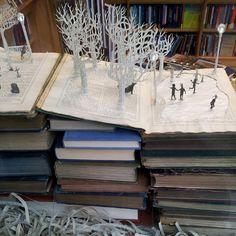 paper sculpture bookshop window