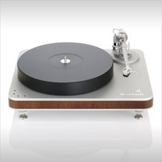 Clearaudio Ovation turntable with silver aluminum, natural clear lacquered Panzerolz wood. Beautiful! www.Needledoctor.com