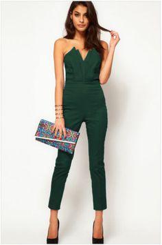 Strapless Black Jumpsuits Green