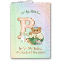 Birthday Bear Boy - Customize Greeting Card