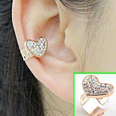 Golden Heart Rhinestone Ear Cuff (Single, No Piercing) | LilyFair Jewelry, $10.99!