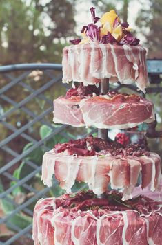 Wedding in Palinuro, Italy offers meat carving station, apparently an Italian tradition Meat Cake? Wedding Reception Food, Wedding Catering, Wedding Snacks, Wedding Sweets, Wedding Ideas, Tapas, Meat Cake, Bacon Cake, Italian Wedding Dresses