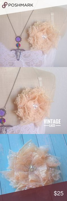✨VINTAGE✨Lace duo hair flower & brooch This gorgeous flower is made from vintage cream colored lace. A mix between cream color and a very very pale pink. I hand cut and assemble each little piece of lace to make a beautiful full layered flower. Peekaboo faux pearl beads are in the middle of lace layers. Swarovski rhinestones for the center for extra sparkle. A pin AND an alligator hair clip are securely attached to the back. You can wear it as a hair flower or broochHandmade by me. Tags••…