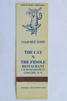The Cat N The Fiddle Restaurant Concord New Hampshire 20 Strike Matchbook Cover